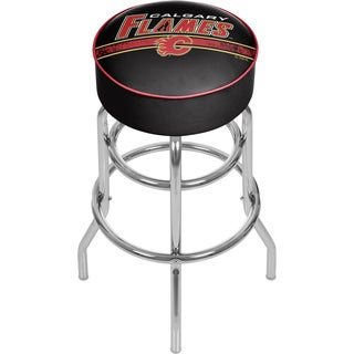 NHL Chrome Bar Stool with Swivel - Calgary Flames