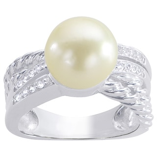 Pearls For You Sterling Silver Golden South Sea Pearl and White Topaz Ring (10-11 mm)