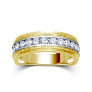 Unending Love 14k Gold Men's 1ct TDW Milgrain Channel Set Band (I-J, I1-I2)