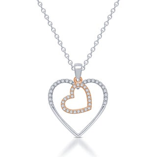 Unending Love Sterling Silver & 10kt Rose Gold 1/5ct Tw Diamond Double Heart Necklace ( IJ I1-I2)