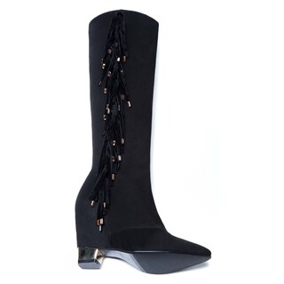 Women's 'Jules' Fringe and Plated Heel Boots