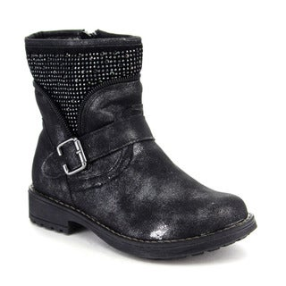Beston GA64 Girls' Comfort Rhinestone Deco Side Zipper Mid Calf Booties