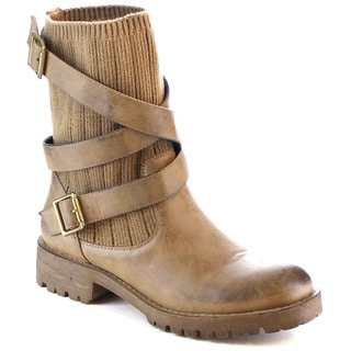 MI.IM UMA-02 Women's High Quality Sweater Multi Strap Lug Sole Ankle Booties