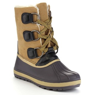Beston BA44 Women's Lug Sole Two Tone Front Lace Up Mid Calf Winter Duck Boots