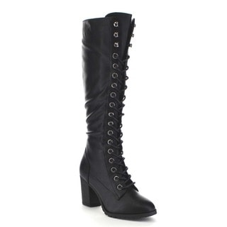Beston BA79 Women's Chunky Heel Front Lace Up Combat Style Knee High Boots