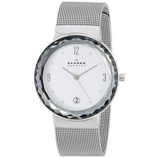 Skagen Women's SKW2004 Leonora Diamond Silver Dial Stainless Steel Mesh Bracelet Watch