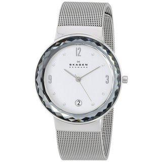 Skagen Women's Leonora Diamond Silver Dial Stainless Steel Mesh Bracelet Watch