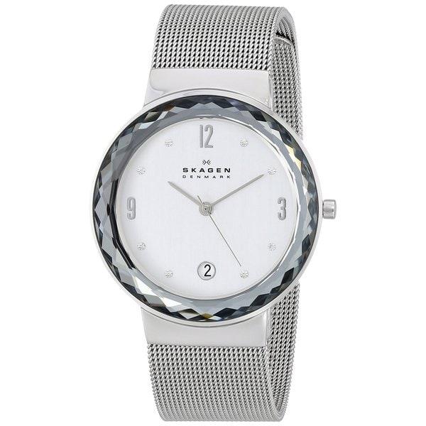 Skagen Women's SKW2004 Leonora Diamond Silver Dial Stainless Steel Mesh Bracelet Watch