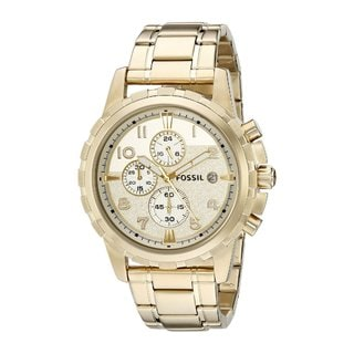 Fossil Men's FS4867 Dean Chronograph Gold Dial Gold-Tone Stainless Steel Bracelet Watch