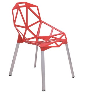 LeisureMod Dalton Red Iron Chair