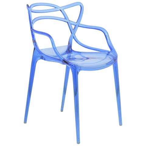 LeisureMod Milan Blue intertwined Design Dining Side Chair
