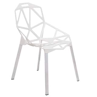 Leisuremod Dalton White Iron Chair