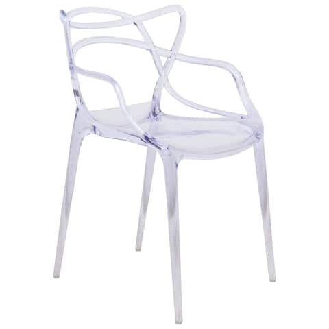 LeisureMod Milan Clear intertwined Design Dining Side Chair