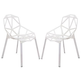 LeisureMod Dalton White Iron Chair (Set of 2)