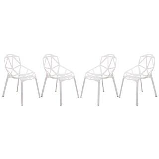 LeisureMod Dalton White Iron Chair (Set of 4)