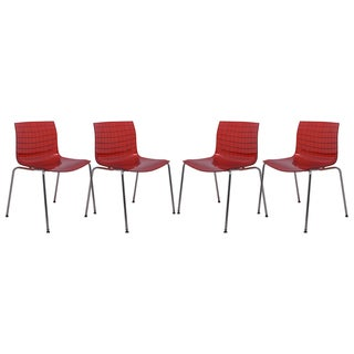 LeisureMod Ashville Transparent Red Side Chair (Set of 4)