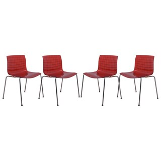 LeisureMod Ashville Transparent Red Dining Chair (Set of 4)