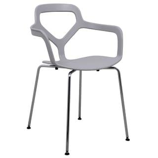 LeisureMod Light Grey Carney Arm Chair with Chrome Legs