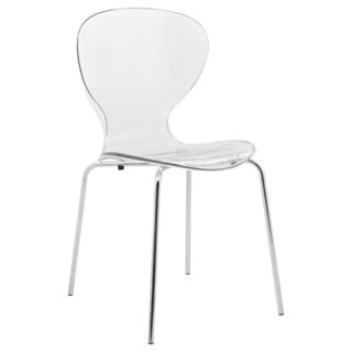 LeisureMod Oyster Clear Side Chair