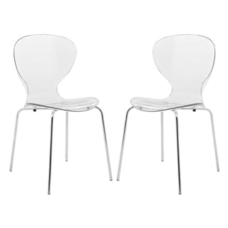 LeisureMod Oyster Clear Side Chair (Set of 2)