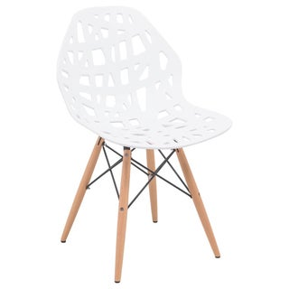 LeisureMod Akron White Cutout Side Chair