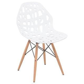 LeisureMod Akron White Dining Side Chair W/ Dowel Eiffel Base