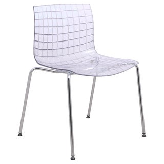 LeisureMod Ashville Clear Side Chair