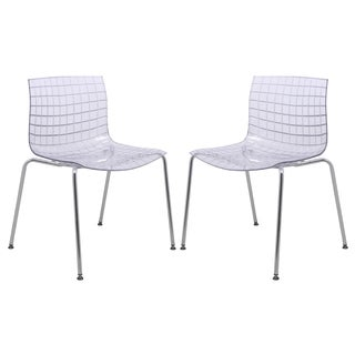 LeisureMod Ashville Clear Dining Chair (Set of 2)