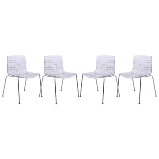 LeisureMod Ashville Clear Side Chair (Set of 4)