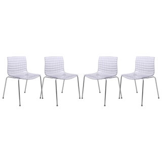 LeisureMod Ashville Clear Dining Chair (Set of 4)