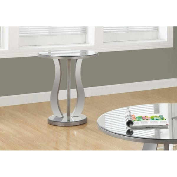 20 Inch Brushed Silver Mirror End Table Free Shipping