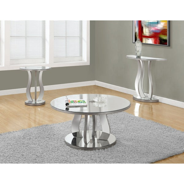 20 Inch Brushed Silver Mirror End Table
