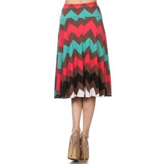 MOA Collection Women's Reg and Plus Size Chevron Print Skirt