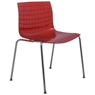 LeisureMod LeisureMod Ashville Transparent Chrome Leg Red Dining Chairs
