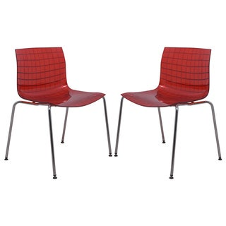 LeisureMod Ashville Transparent Red Side Chairs (Set of 2)