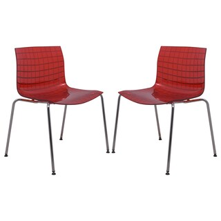LeisureMod Ashville Transparent Red Dining Chairs (Set of 2)
