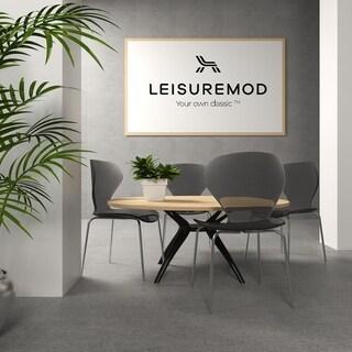 LeisureMod Oyster Modern Black Round Back Dining Side Chair Set of 4