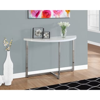 "CONSOLE TABLE - 48""L / GLOSSY WHITE / CHROME METAL"