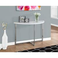 """CONSOLE TABLE - 48""""L / GLOSSY WHITE / CHROME METAL"""