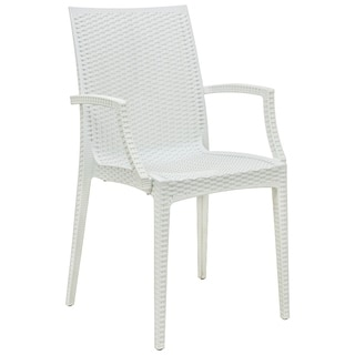 LeisureMod Mace Weave Wicker Design Indoor/ Outdoor White Dining Armchair