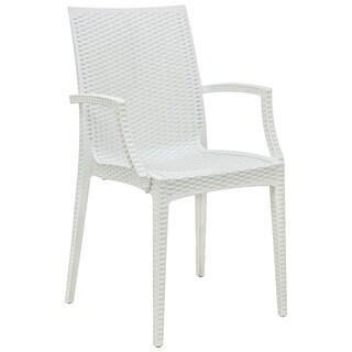 LeisureMod Mace Weave Wicker Design Indoor/ Outdoor White Dining Armchair
