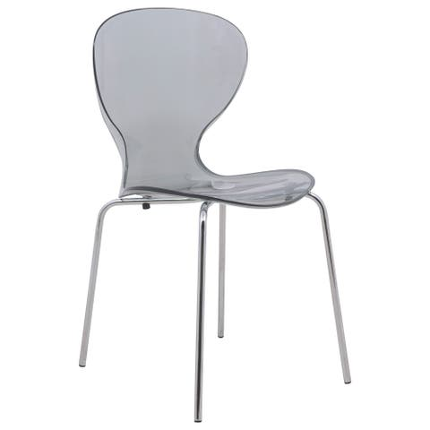 LeisureMod Oyster Modern Black Round Back Dining Side Chair