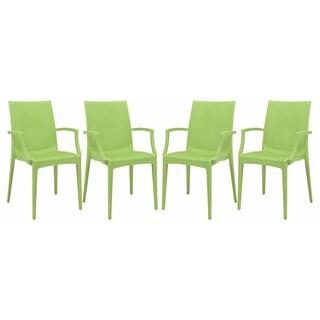 LeisureMod Mace Modern Weave Indoor/ Outdoor Green Dining Armchair (Set of 4)