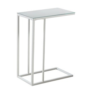 White Metal with a Mirror Top Accent Table