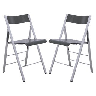 LeisureMod Menno Transparent Black Acrylic Folding Chair (Set of 2)