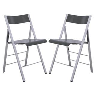 LeisureMod Menno Transparent Black Acrylic Folding Chair (Set of 2)