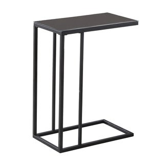 Black Metal Black Tempered Glass Accent Table