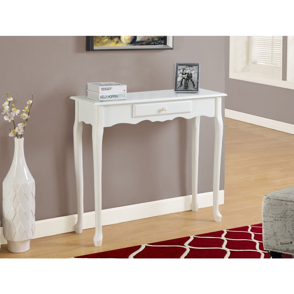 Accent Table 36 L Antique White Hall Console