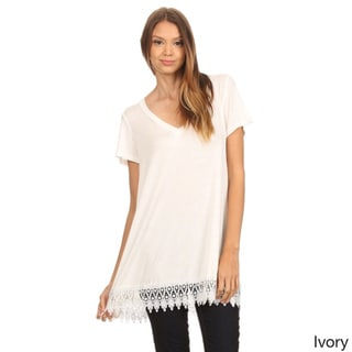 MOA Collection Women's Solid Color Top with Crochet Trim
