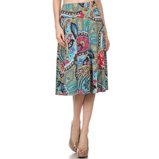 MOA Collection Women's Reg and Plus Size Paisley Print Skirt